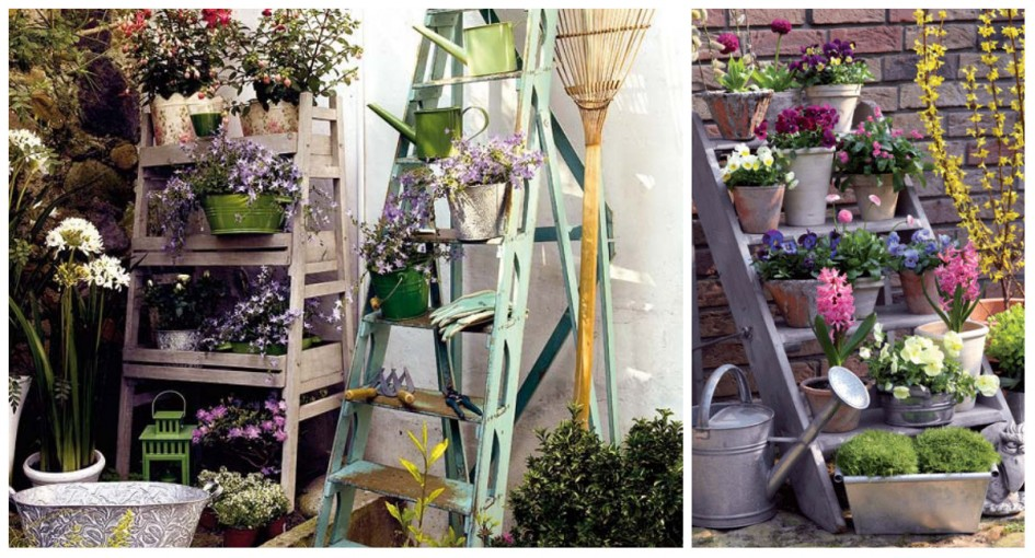 jardines verticales - escalera mano