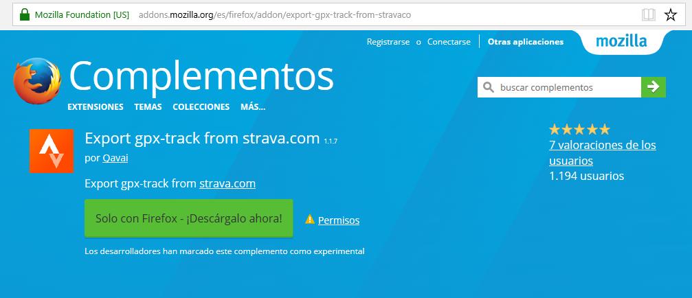 Instalar addon Strava para descarga de GPX