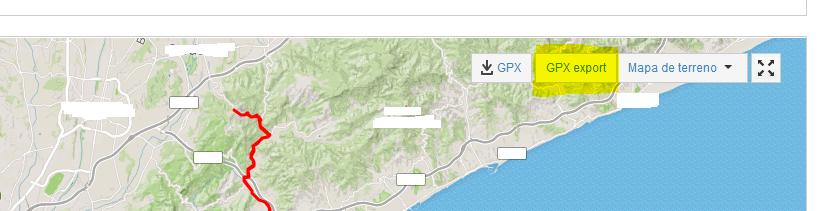 boton GPX export para strava con addon de Firefox