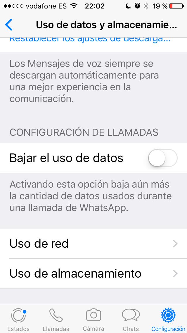 Liberar espacio en WhatsApp