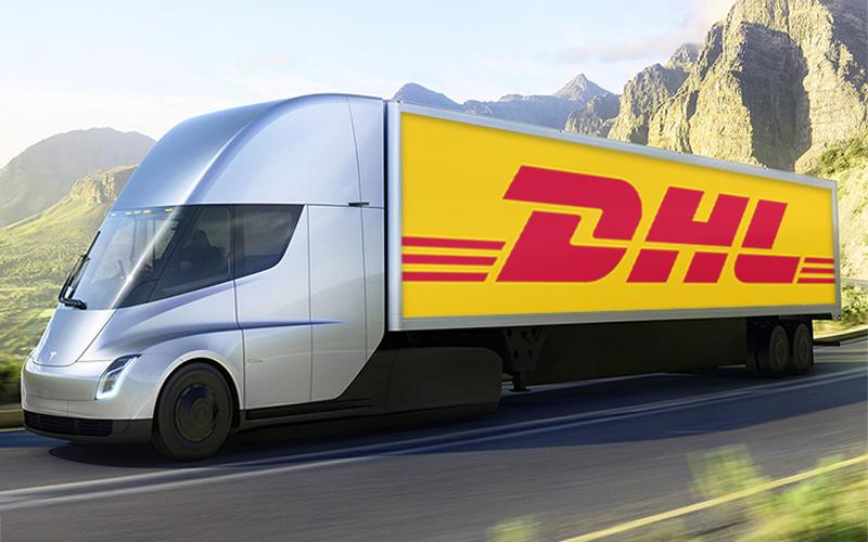 dhl tesla semi trucks